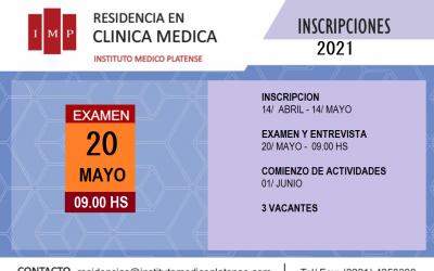 Convocatoria a Residencia en Clínica Médica en el Instituto Médico Platense